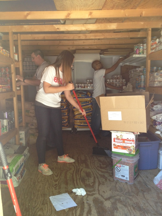 Andrew Brown, Thomas Brown, and Morgan Blank reorganized the entire food storage area.