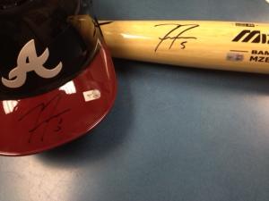 Freddie Freeman Autographed Bat & Helmet