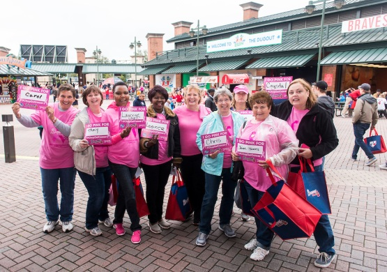 ATLANTA, GA - October 03: Breast Cancer Awareness Day before the game was postponed due to rain. (Photo by Patrick Duffy/Pouya Creative/Atlanta Braves) *** Local Caption ***