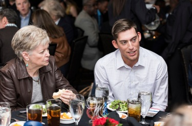 ATLANTA, GA - April 06: Leadoff Luncheon at Turner Field on April 06, 2016 in Atlanta, Georgia. (Photo by Isaac Green/Beam/Atlanta Braves) *** Local Caption *** Drew Stubbs