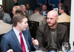 ATLANTA, GA - April 06: Leadoff Luncheon at Turner Field on April 06, 2016 in Atlanta, Georgia. (Photo by Isaac Green/Beam/Atlanta Braves) *** Local Caption *** Tyler Flowers