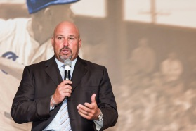 ATLANTA, GA - April 06: Leadoff Luncheon at Turner Field on April 06, 2016 in Atlanta, Georgia. (Photo by Isaac Green/Beam/Atlanta Braves) *** Local Caption *** Fredi Gonzalez