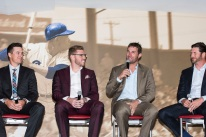 ATLANTA, GA - April 06: Leadoff Luncheon at Turner Field on April 06, 2016 in Atlanta, Georgia. (Photo by Isaac Green/Beam/Atlanta Braves) *** Local Caption *** Kelly Johnson;Freddie Freeman;Jeff Francoeur;Jason Grilli