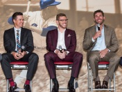 ATLANTA, GA - April 06: Leadoff Luncheon at Turner Field on April 06, 2016 in Atlanta, Georgia. (Photo by Isaac Green/Beam/Atlanta Braves) *** Local Caption *** Kelly Johnson;Freddie Freeman;Jeff Francoeur