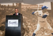 ATLANTA, GA - April 06: Leadoff Luncheon at Turner Field on April 06, 2016 in Atlanta, Georgia. (Photo by Isaac Green/Beam/Atlanta Braves) *** Local Caption *** John Schuerholz
