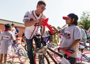 ATLANTA, GA - May 25: Surprise Bike Giveaway at Argyle Elementary on May 25, 2016 in Atlanta, Georgia. (Photo by Isaac Green/Beam/Atlanta Braves/Getty Images) *** Local Caption *** Reid Brignac