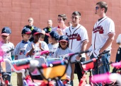 ATLANTA, GA - May 25: Surprise Bike Giveaway at Argyle Elementary on May 25, 2016 in Atlanta, Georgia. (Photo by Isaac Green/Beam/Atlanta Braves/Getty Images) *** Local Caption *** Daniel Castro;Reid Brignac