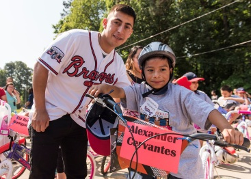 ATLANTA, GA - May 25: Surprise Bike Giveaway at Argyle Elementary on May 25, 2016 in Atlanta, Georgia. (Photo by Isaac Green/Beam/Atlanta Braves/Getty Images) *** Local Caption *** Daniel Castro