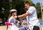 ATLANTA, GA - May 25: Surprise Bike Giveaway at Argyle Elementary on May 25, 2016 in Atlanta, Georgia. (Photo by Isaac Green/Beam/Atlanta Braves/Getty Images) *** Local Caption *** Daniel Castro