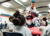 ATLANTA, GA - May 25: Surprise Bike Giveaway at Argyle Elementary on May 25, 2016 in Atlanta, Georgia. (Photo by Isaac Green/Beam/Atlanta Braves/Getty Images) *** Local Caption *** Reid Brignac