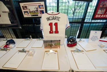 ATLANTA, GA - JUNE 11: Overall of memorabilia being auctioned off before the game against the Chicago Cubs at Turner Field on June 11, 2016 in Atlanta, Georgia. The Cubs won 8-2. (Photo by Kyle Hess/Beam/Atlanta Braves/Getty Images) *** Local Caption ***