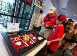 ATLANTA, GA - JUNE 11: Fans bid on memorabilia before the game against the Chicago Cubs at Turner Field on June 11, 2016 in Atlanta, Georgia. The Cubs won 8-2. (Photo by Kyle Hess/Beam/Atlanta Braves/Getty Images) *** Local Caption ***