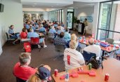 ATLANTA, GA - JUNE 26: A prostate cancer awareness seminar is held before the game between the Atlanta Braves against the New York Mets at Turner Field on June 26, 2016 in Atlanta, Georgia. The Braves won 5-2. (Photo by Kyle Hess/Beam/Atlanta Braves/Getty Images) *** Local Caption ***
