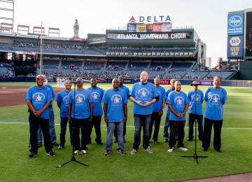 ATLANTA, GA - JUNE 27: The Atlanta Homeward Choir performs the national anthem before the game between the Atlanta Braves against the Cleveland Indians at Turner Field on June 27, 2016 in Atlanta, Georgia. The Indians won 8-3. (Photo by Kyle Hess/Beam/Atlanta Braves/Getty Images) *** Local Caption ***