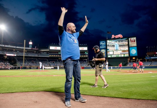 ATLANTA, GA - JUNE 27: Chick-fil-A Braves Country Community Hero is honored during the game between the Atlanta Braves against Cleveland Indians at Turner Field on June 27, 2016 in Atlanta, Georgia. The Indians won 8-3. (Photo by Kyle Hess/Beam/Atlanta Braves/Getty Images) *** Local Caption ***