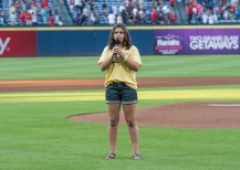 ATLANTA, GA - SEPTEMBER 10: The national anthem before the game between the Atlanta Braves against the New York Mets at Turner Field on September 10, 2016 in Atlanta, Georgia. The Braves won 4-3. (Photo by Patrick Duffy/Beam Imagination/Atlanta Braves/Getty Images) *** Local Caption ***