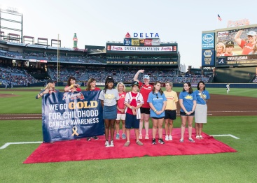 ATLANTA, GA - SEPTEMBER 10: On field presentation Childhood Cancer before the game between the Atlanta Braves against the New York Mets at Turner Field on September 10, 2016 in Atlanta, Georgia. The Braves won 4-3. (Photo by Patrick Duffy/Beam Imagination/Atlanta Braves/Getty Images) *** Local Caption ***