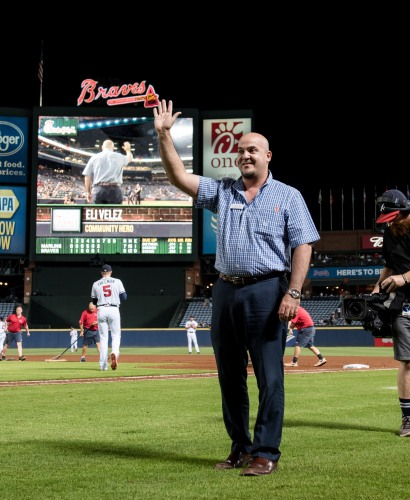 ATLANTA, GA - SEPTEMBER 12: Braves Country Community Hero during the game between the Atlanta Braves against the Miami Marlins at Turner Field on September 12, 2016 in Atlanta, Georgia. The Braves won 12-7. (Photo by Kyle Hess/Beam/Atlanta Braves/Getty Images) *** Local Caption ***